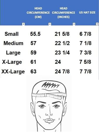 Dress Hat Size Chart - click to enlarge
