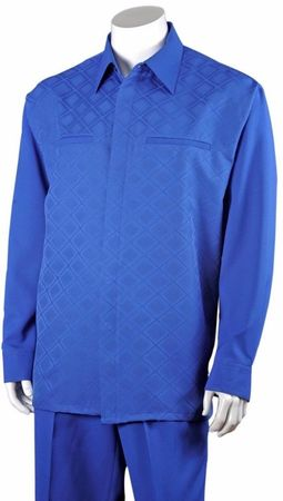Fortino Mens Royal Blue Diamond Pattern Casual Walking Suit 2762