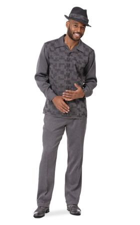 Montique Mens Walking Suit Charcoal Cube Design 2pc 2002