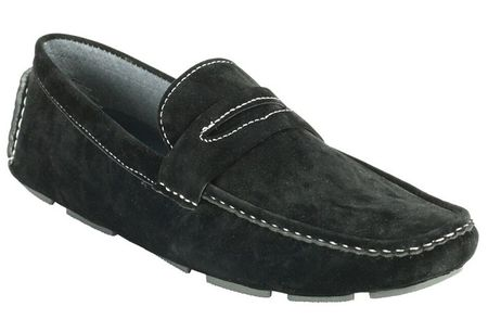 Driving Shoes Men Black Suede Penny Loafer AC 6516 Final Sale