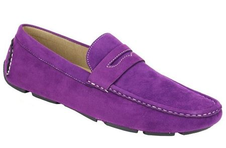 Driving Shoes Men Purple Suede Penny Loafer AC 6516 Final Sale