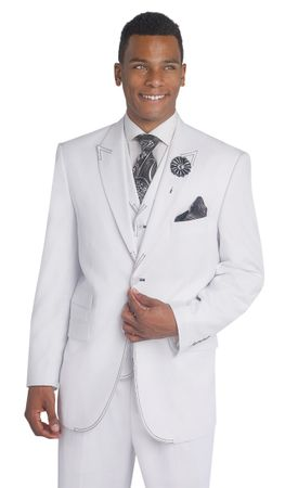EJ Samuel Mens White Black Stitch 3 Piece Fashion Suit M2688 - click to enlarge