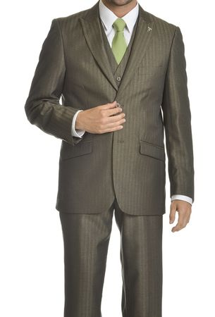 Stacy Adams Mens Olive Tone on Tone Striped 3 Pc Suit Sky Vested 5730-043 OS - click to enlarge