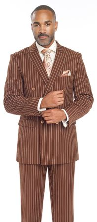 EJ Samuel Mens Brown 1940s Stripe Double Breasted Suit M2701 - click to enlarge