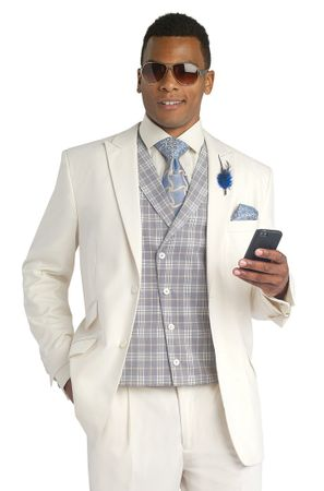 EJ Samuel Cream Fancy Vested 3 Piece Fashion Suit Ensemble M2673 - click to enlarge