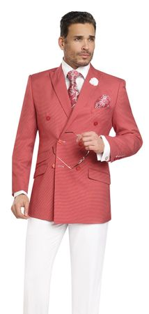 EJ Samuel Double Breasted Summer Suit Red Nailshead M2702