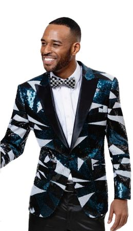 Fashionable Blazers Men's Aqua Sequin Jacket EJ Samuel J70