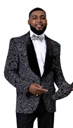 Fashionable Blazers Men's Black Floral Pattern EJ Samuel J65