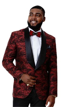 Fashionable Blazers Men's Black Red Floral Pattern EJ Samuel J66