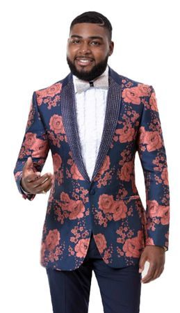 Fashion Blazers Men's Blue Rust Flower Jacket EJ Samuel J73