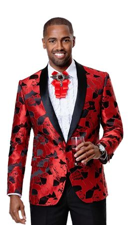 Fashion Blazers Men's Red Black Shiny Pattern EJ Samuel J67