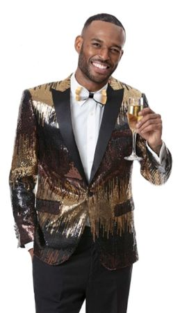 Men's Black Gold Sequin Blazer Jacket EJ Samuel J54