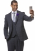 EJ Samuel Men's Charcoal Square Plaid 3 Piece Fashion Suit M2716