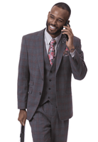 EJ Samuel Men's Charcoal Wine Plaid 3 Piece Fashion Suit M2718