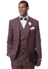 EJ Samuel Men's Wine Plaid 3 Piece 1920s Fashion Suit M2721