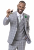 EJ Samuel Men's Gray Square Plaid 3 Piece Fashion Suit M2719