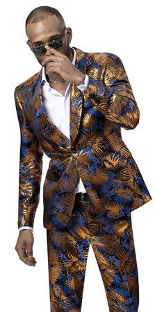 EJ Samuel Men's Blue Floral 2 Piece Fashion Suit M2738