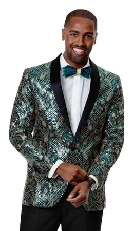 Men's Green Fashion Prom Blazer Jacket EJ Samuel J59
