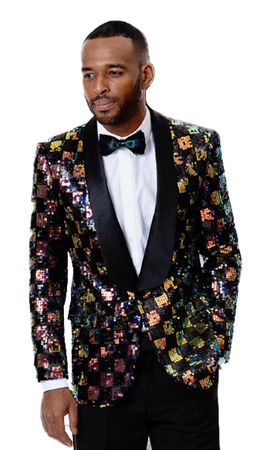 Men's Multi Color Sequin Tuxedo Blazer Jacket EJ Samuel J55