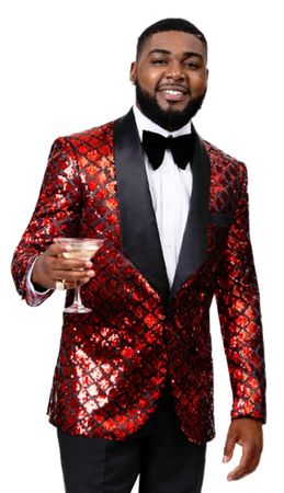 Men's Red Black Sequin Tuxedo Blazer Jacket EJ Samuel J56