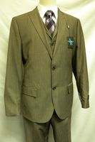 Steve Harvey Light Brown Stripe 3 Piece Suit Modern Fit 1242