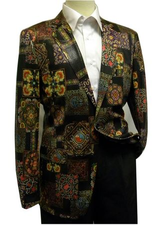 Pronti Mens Blazers Black Medieval Pattern B6195 Size 40R Final Sale - click to enlarge