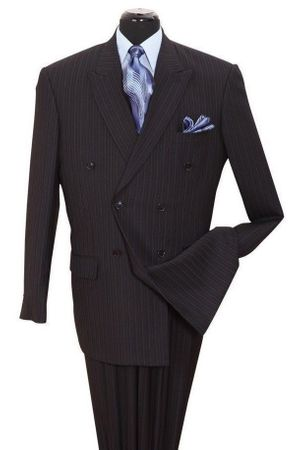 Milano Men's Black Stripe Double Breasted Suit 5911B