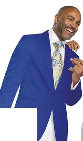 EJ Samuel Mens Royal Blue Pattern Blazer J14 Size 3XL Final Sale