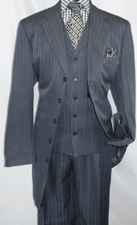 Mens Dark Gray 1940s Zoot Suit Shadow Type Stripe Vested Fortino 29198 Size 40R Final Sale
