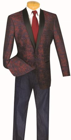 Mens Wine Fancy Pattern Shawl Collar Dinner Jacket Vinci BT-01 Size XL Final Sale