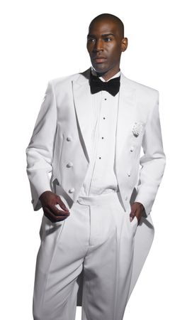 EJ Samuel Mens White Tuxedos with Tails TUX107