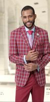 EJ Samuel Suits Mens Wine Plaid Jacket Solid Pants Ensemble M2714