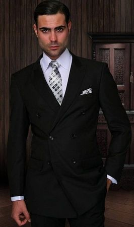 Double Breasted Men's Wool Suit Black Alberto Nardoni DB-1