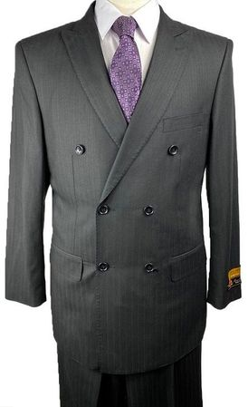 Double Breasted Men's Wool Suit Black Shadow Stripe Alberto Nardoni DB-1
