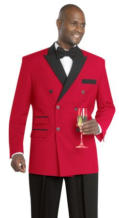 EJ Samuel Red Black Double Breasted Evening Suit M2641 Size 50L Final Sale - click to enlarge