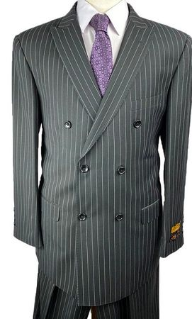 Double Breasted Men's Wool Suit Charcoal Stripe Alberto Nardoni DB-1