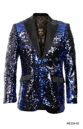 Empire Blazer Men's Blue Sequin Fashion Jacket ME226-02