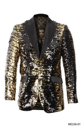 Empire Blazer Men's Gold Sequin Fashion Jacket ME226-01