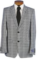 Blu Martini Men's Black White Glen Plaid Blazer 6222-000 Size L Final Sale