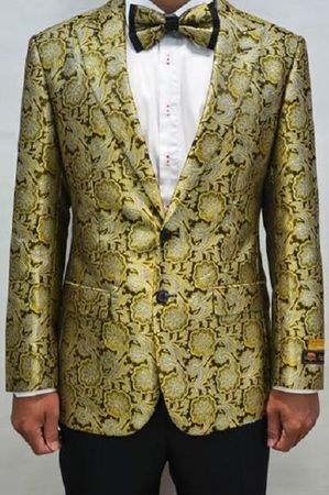 Mens Bronze Floral Pattern Modern Fit Blazer Dinner Jacket Alberto Paisley-100 #14