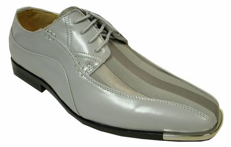 Expression Gray Shiny Stripe Metal Tip Dress Shoes 4925 IS