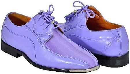 Expression Light Purple Satin Stripe Metal Tip Dress Shoes 4925 IS - click to enlarge