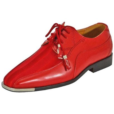 Expression Red Shiny Stripe Metal Tip Dress Shoes 4925 Size 7.5, 10