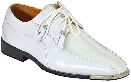 Expression White Shiny Stripe Metal Tip Dress Shoes 4925 IS - click to enlarge