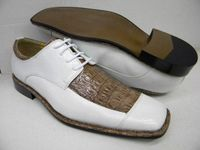 Expressions Mens White and Taupe Crocodile Print Dress Shoes 5973 IS