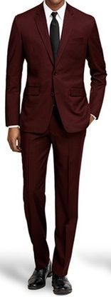 Extra Tight Slim Fit Suits Men's Burgundy  2 Button Fitted Vinci US900-1