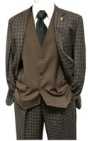 Falcone Mens Brown Gingham Ruler Vested Suit 5412-104 Size 40R Final Sale