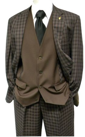 Falcone Mens Brown Gingham Ruler Vested Suit 5412-104 Size 40R Final Sale - click to enlarge