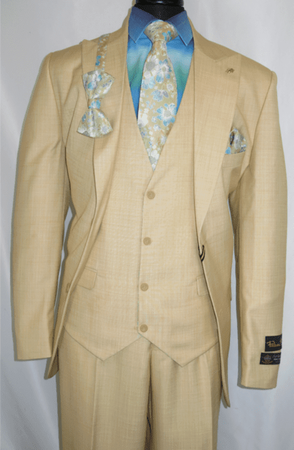 Falcone Men's Toast Gold Floral Vest Suit Tie Set 5540-028