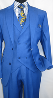 Martini Men's Sapphire Blue State Vest 3 Piece Suit 3420-552 IS